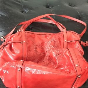 Oversized Coach coral patent leather shoulder bag